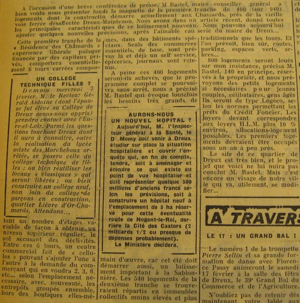 chamards. action janvier 1962.article