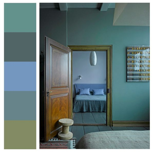 chambre en bleu et vert a part a. Black Bedroom Furniture Sets. Home Design Ideas