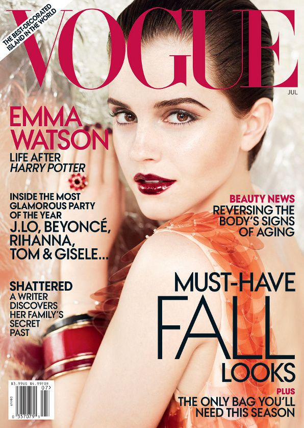 emma watson vogue 2011 july. Emma Watson on the cover of