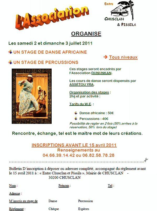 Affiche Stage Danse 2011 2