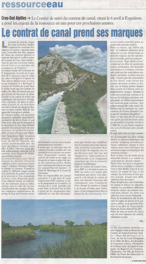 Article Agriculteur Provencal 30Avril2010