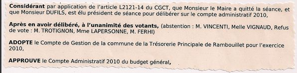 EXTRAIT DELIB VOTE CPTE ADM 2010