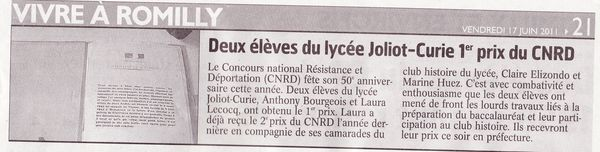 Article journal 18.06.2011 1er prix CNRD
