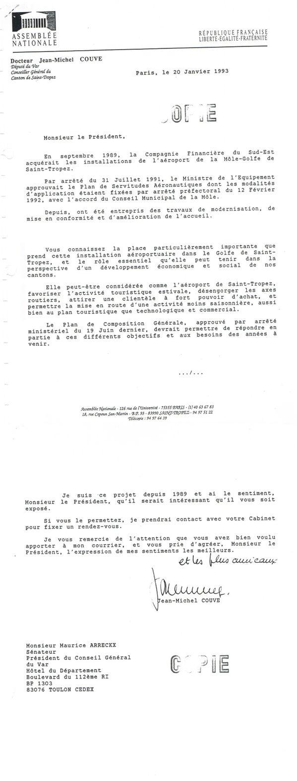 1993 0120 courrier Député JMC à Sénateur du Var