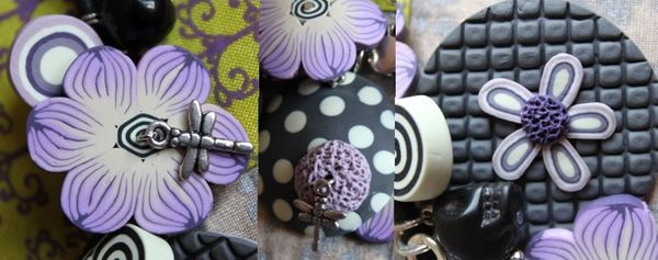 910 - Collier fimo Flower Power Mauve v2