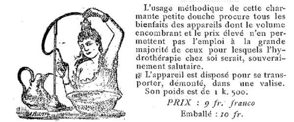 douche à tête portative en 1896