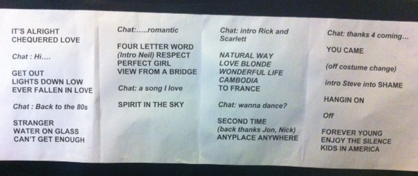 Trianon set list
