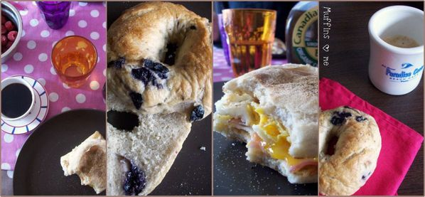 Blueberry bagels collage