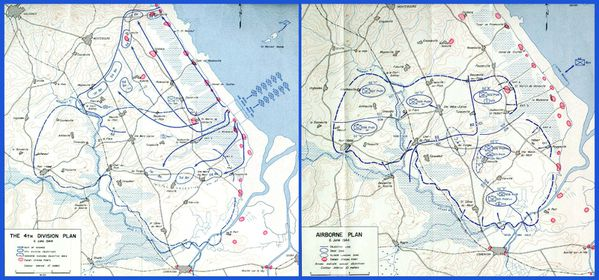 D Day - Carte débarquement - 6 juin 44 - Airborne and 4th