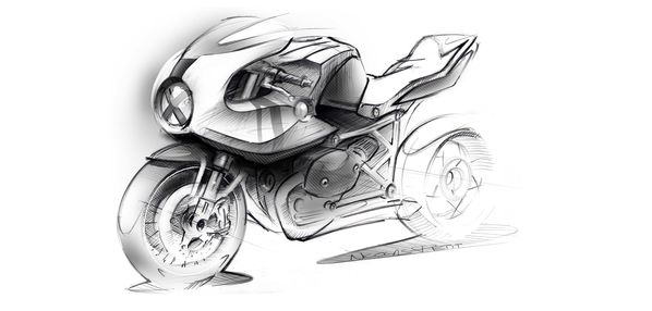 perspective rough HP2 bmw cafe racer