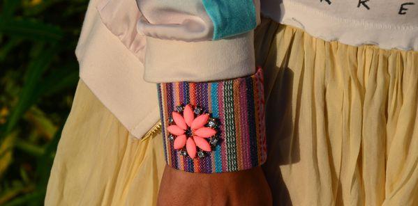bracelet multicolor tissu