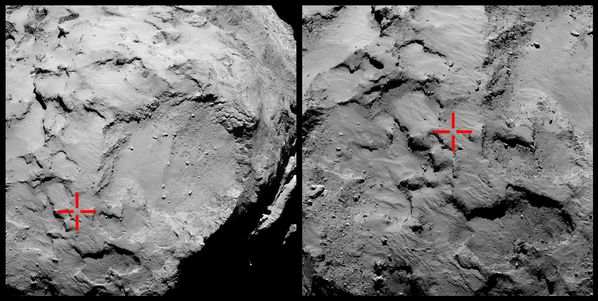 Philae - Landing site 67P - First touch-down