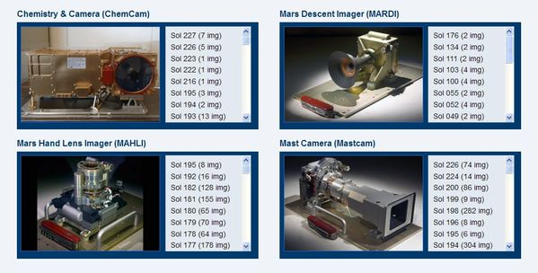 Curiosity - Raw images- Science cameras