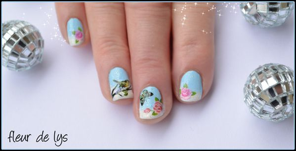 nail art hiver water decals ongles courts nail art fleur. Black Bedroom Furniture Sets. Home Design Ideas