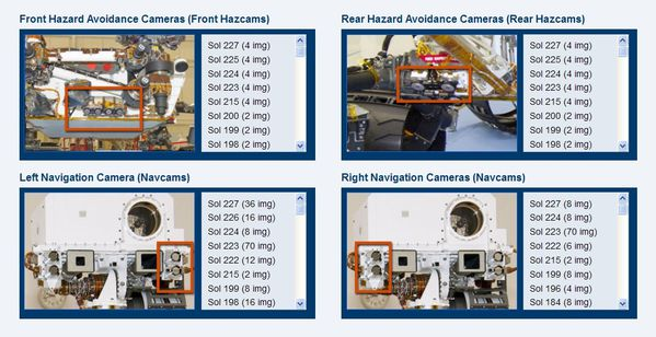 Curiosity - Raw images - Engineering cameras