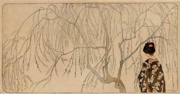 Emil Orlik Jeune fille japonaise sous un saule 1902