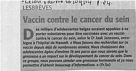 Vaccin pr canver du sein Vaccin cancer du sein