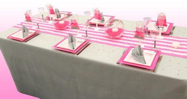 Deco Table Bapteme Fille Rose Blanc : Decorations de table le d articles fetes