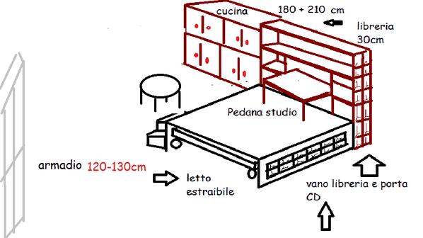 pedana studio letto cucina + armadio 3