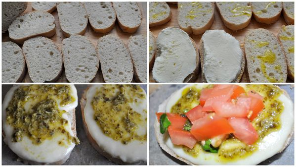 bruschetta tomates mozzarella et pesto basilic couscous et puddings. Black Bedroom Furniture Sets. Home Design Ideas
