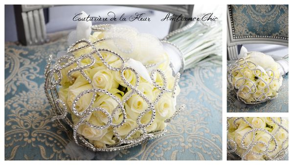 Mariage blanc et argent bouquet marie