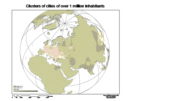 World cities steve figure 1 nearestneighbor clusters of cities with 1 million inhabitants or more layered over an interpolated surface approximating population density based gumiabroncs Images