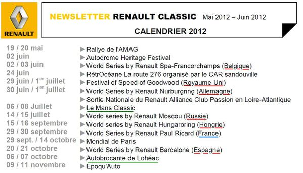 RENAULT CLASSIC CALENDRIER 2012