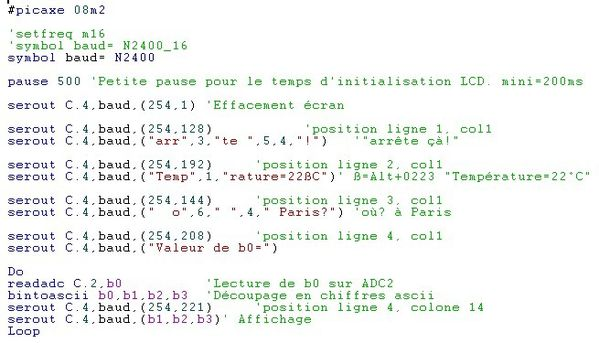 LCD texte