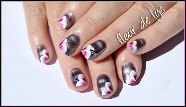 nail art one stroke ongles courts nail art fleur. Black Bedroom Furniture Sets. Home Design Ideas