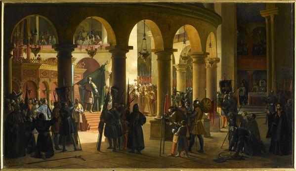 Godefroy de Bouillon dépose dans l'église du Saint Sépul