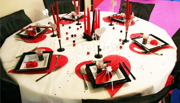 D coration de table blanc rouge noir d corations f tes - Decoration de table mariage rouge et blanc ...