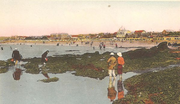 CARTE POSTALE COLORISEE PLAGE DES PECHEURS ET LIBRAIRES ANN