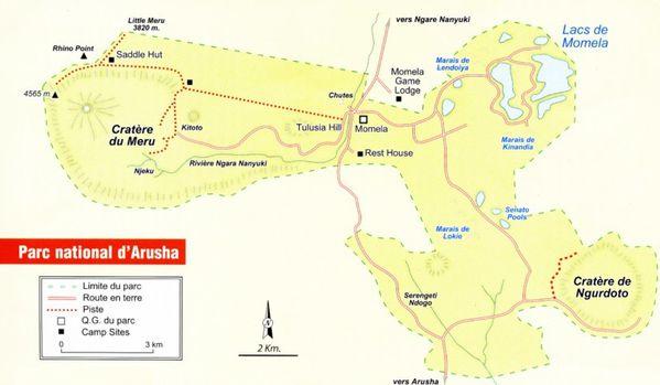 carte du parc d Arusha