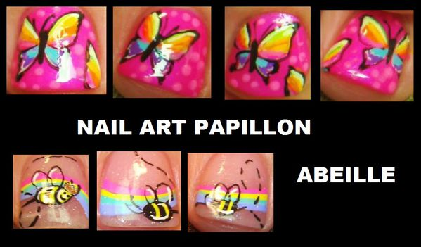 butter fly nail art papillon