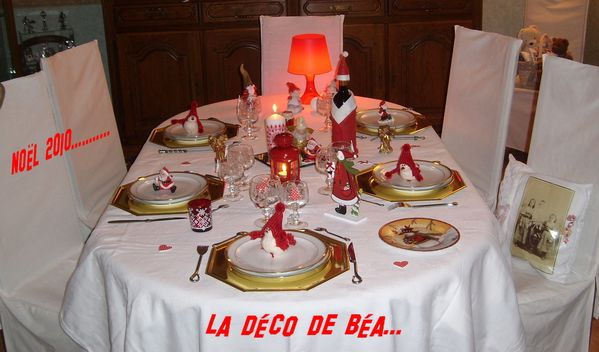 Table no l 2010 blanche et rouge deco de tables - Deco table de noel blanc ...