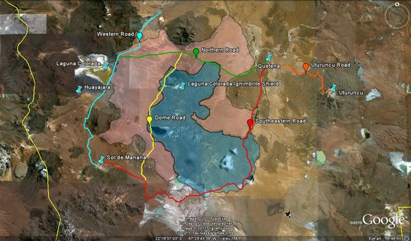 Laguna Colorada ignimbrite shield Google Earth Map