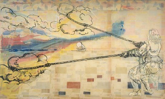 Sigmar Polke , Hope is Wanting to pull clouds, 1992