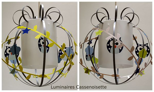 une suspension hibou pour un petit gar on luminaire enfant lampe casse noisette. Black Bedroom Furniture Sets. Home Design Ideas