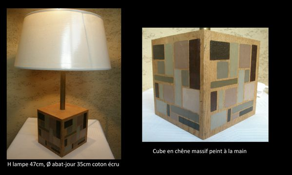 lampe cube en ch ne massif c 39 era una volta. Black Bedroom Furniture Sets. Home Design Ideas