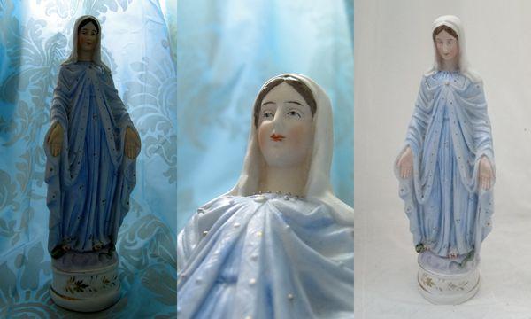 belle statue Vierge Marie en biscuit