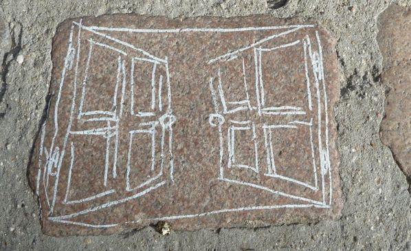 dessin sur pavés - fenetre