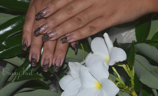 rose holographique-nails papillons (1)