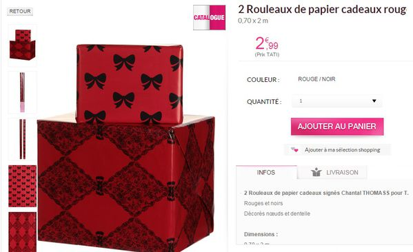 PAPIER CADEAU ROUGE CHANTAL THOMASS TATI