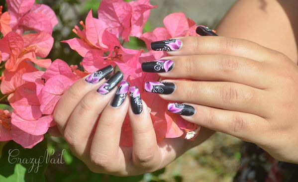 Nail Art Fleurs pointus one stroke (3)