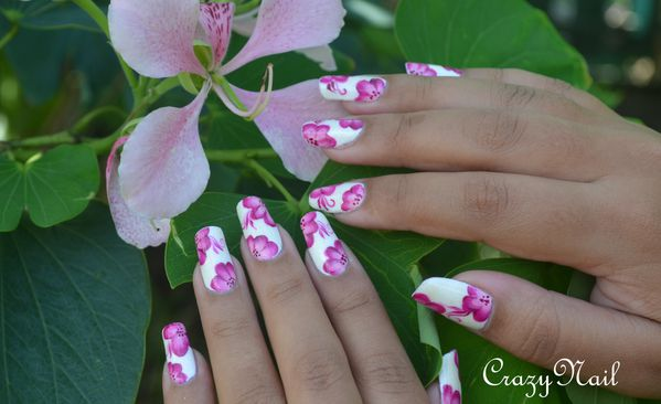 one stroke girly- nail art 974