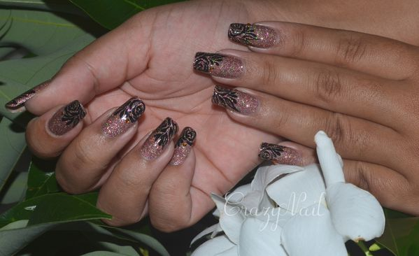rose holographique-nails papillons (2)