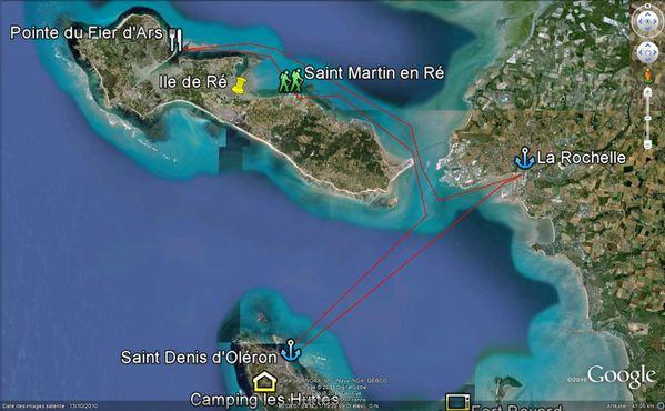 Carte trajet St Denis - La Rochelle-Fier d'Ars en Ré- St D