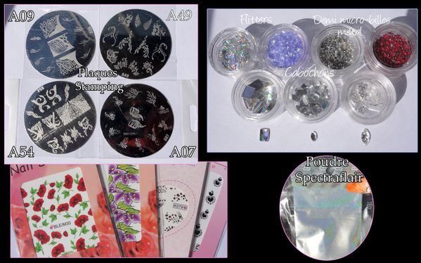 Décorations Nail Art ( plaques stamping, cabochons etc...)