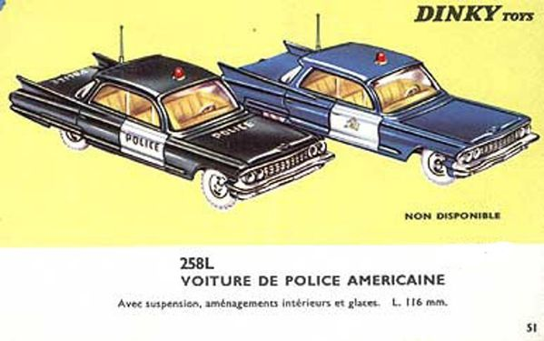 catalogue dinky toys 1966 p51 voiture de police americaine