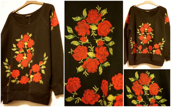 Sweat roses point de croix ZARA